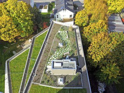 Dachbegrünung aus Vogelperspektive aufgenommen