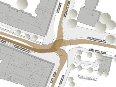 Plan für eine verkehrstechnische Studie zu einem Kreisverkehr